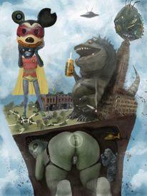 Monster, Affe, Godzilla, Ufos
