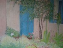 Tür, Rosa, Haus, Türkis