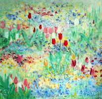 Blumen, Tulpen, Natur, Malerei