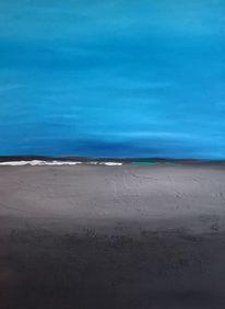 Malerei, Mischtechnik, Landschaft, Wasser