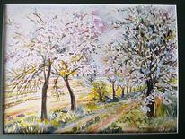 Baumblüte, Frühling, Gute laune, Aquarell