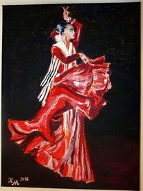 Rot, Kontrast, Flamenco, Tanz