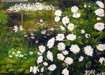 Garten, Rosenblüte weiss, Sitzplatz, Malerei