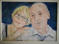 Paar, Pastellmalerei, Gemeinsam, Zeichnungen