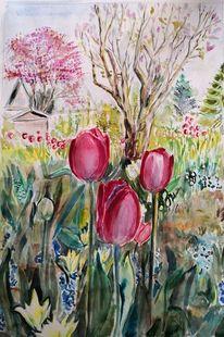 Garten, Tulpen, Fliederstrauch, Aquarell