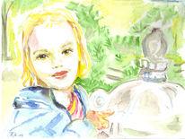 Park, Blond, Jasmin, Aquarell
