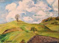 Landschaft, Hügel, Friedl3, Malerei
