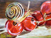 Johannisbeeren, Schnecke, Rot, Malerei