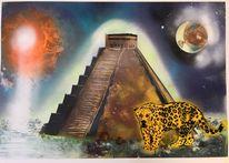 Spraydosen, Pyramide, Jaguar, Malerei