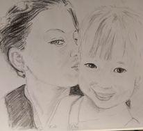 Küsschen, Mutter, Kleines mädchen, Zeichnungen