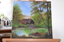 Landschaft, Hütte, Wasser, Bäume