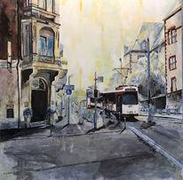 Stadt, Sonnenuntergang, Straße, Gemälde