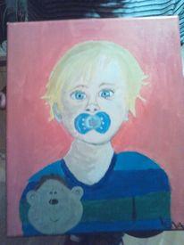Kuscheltier, Kleinkind, Malerei, Bruder