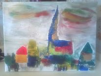 Stadt, Kirche, Häuser, Malerei