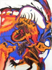Acrylmalerei, Blau, Elefant, Drache