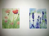 Blumen, Knospe, Stängel, Aquarell