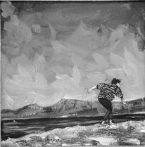 Landschaft, Frau, Berge, Laufen