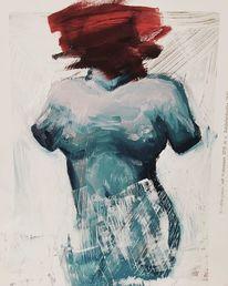 Blau, Rot, Ölmalerei, Frau