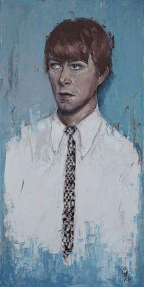 Ölmalerei, David bowie, Blau, Portrait