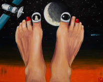 Zehe, Astronaut, Universum, Malerei