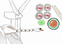 Schwan, Sushi, Windrad, Zeichnungen