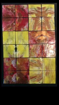 Rot, Spiegelung, Gelb, Mischtechnik