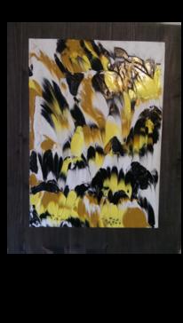 Schwarz, Gelb, Acryldruck, Fluidpainting