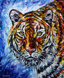 Tigerportrait, Tigerliebe, Tigermalerei, Tiere