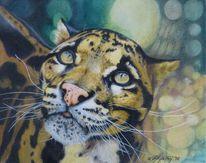 Zeichnung, Leopard, Tiere, Nebelparder