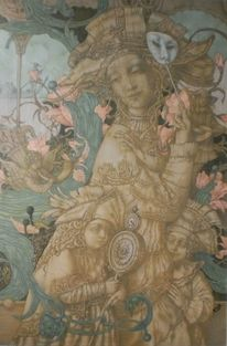 Dämmerung, Blumen, Maske, Venedig