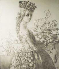 Frauengestalt, Bleistiftzeichnung, Zeichnung, Fantasie