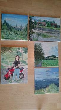 Schöne farben, Landschaft, Menschen, Malerei