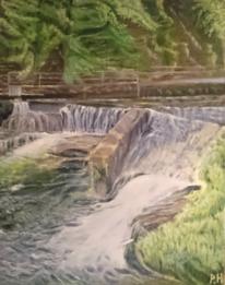 Weg, Wald, Fluss, Malerei