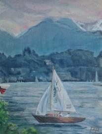 Teich, Grün, Landschaft, Malerei