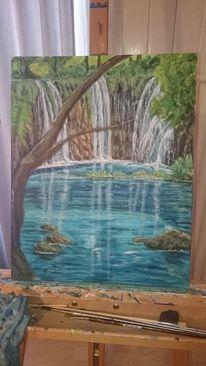 Wasser, Wasserfall, Baum, Malerei