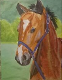 Figural, Pferde, Landschaft, Grün