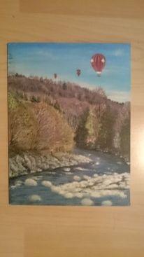 Wald, Fluss, Himmel, Malerei