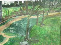Wiese, Ems, Fluss, Malerei