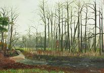 Herbst, Dämmerung, Ems, Bauernhaus