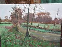 Braunrote farben, Ems, Herbst, Malerei