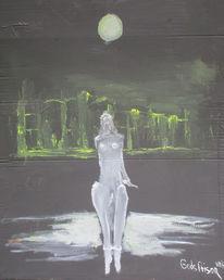 Stadtansicht, Mond, Malerei,