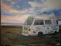 Meereslandschaft, Strand, Malerei,