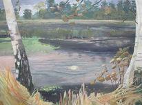Herbstblätter, Emsstimmung, Birken, Wasser