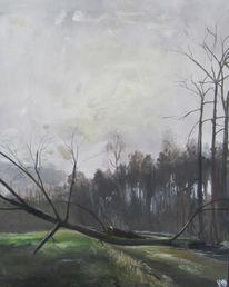 Acrylmalerei, Melancholie, Baumstamm, Landschaft