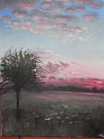Abendstimmung, Landschaft, Abendrot, Acrylmalerei