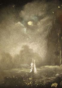 Mond, Wiese, Fee, Malerei