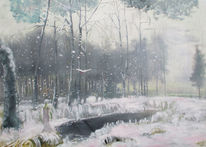 Acrylbinder, Winterlandschaft, Acrylmalerei, Wasser
