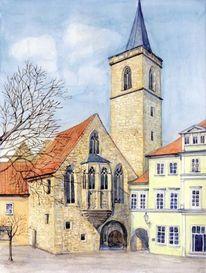 Ägidienkirche, Aquarellmalerei, Erfurt, Aquarell