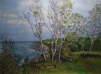Ostsee, Rügen, Baum, Aquarell