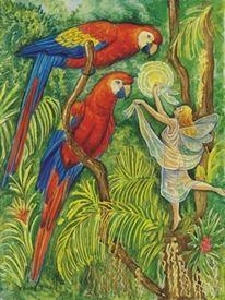 Elfen, Aquarellmalerei, Wald, Aquarell